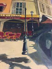 French Bistro painting - peinture huile «Brasserie Le Cezanne Provence - signé
