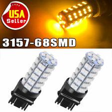 2 PCS Amber Yellow 3157A 3457A  4157NA  3157 68-SMD Parking Bulb Lamp LED Lights