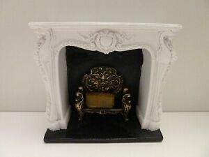 Dolls House Lounge Furniture Resin Miniature 1:12th Scale White Rococo Fireplace