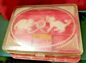 Vintage Hommer Mfg Kittens Cats Sewing Jewelry Box Plastic Marbled Pink Swirl
