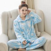 Winter Pajamas Set Women Pyjamas Flannel Warm Long Pants 2piece/Set Sleepwear