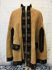 Vintage 1970's Leather Women's Hippie Festival Boho Cape. One Size. Excellent.