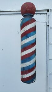 """Antique solid wood barber pole 30"""" height"""