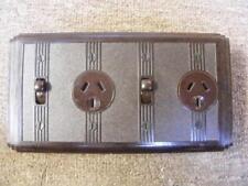 classic electric deco rectangular bakelite double power point, brown 65B