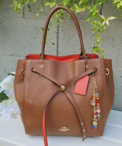 COACH TURNLOCK TIE LRG MARKET TOTE BAG PEBBLE LEATHER saddle BROWN  35160