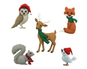 Christmas Woodland Holiday Owl Deer Fox Squirrel Buttons Jesse James Dress It Up