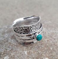 Solid 925 Sterling Silver Spinner Ring Jewelry Turquoise All Size Handmade AK40