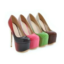 Ladies Clubwear Shoes Synthetic Leather Platform High Heels Pumps US Size s993
