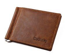 Cuero tarjetas de crédito holder dinero clip bolsa estuche marrón Business supersexy Design