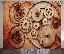 Copper Decor Curtains Mechanical Clocks Window Drapes 2 Panel Set 108x84 Inches