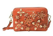 NWT MICHAEL Michael Kors Flowers Pouches Medium Camera Bag Orange