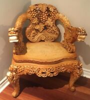 Antique Oriental Stunning Heavy Hand Carved Rosewood Dragon~Grape~Throne Chair