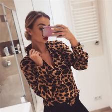 Women Leopard Print Top Long Sleeve V-Neck Autumn Loose irregular T-Shirt Blouse