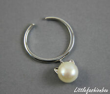 925 Sterling Silver Cat Ear Fresh Water Pearl Dangle Fine Ring UK New 2.0g