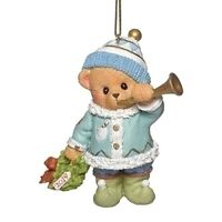 Cherished Teddies 2019 Dated Christmas Ornament with Wreath and Horn 132843