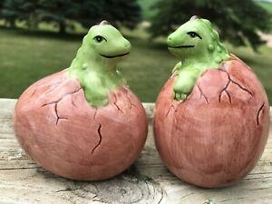 Porcelain Salt & Pepper Shakers Baby Dinosaurs Hatching from Egg 1993