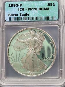 1993-P  ICG PR70 DCAM American Silver Eagle $1 Proof PF 70 - 1oz Silver Dollar