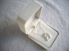 Silver Inset 10x Topaz Crystals:Heart Pendant Snake Chain Necklace,New Gift Box.