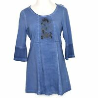 Soft Surroundings Rihannon Tunic Embroidered Top Mottled Blue 29967 Size Small S