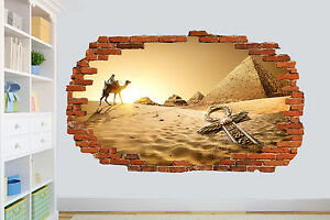 PYRAMID DESERT CAMEL ANTIQUE SMASHED WALL STICKER ROOM DECORATION DECAL MURAL