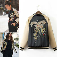 Women Fashion Bomber Jacket Phoenix Floral Embroidered Baseball Coat Outerwear