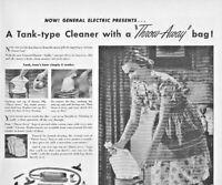 1948 General Electric Vacuum Cleaner Vintage Print Ad Airflo Throw Away Bag