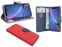 Zubehör für iPhone XR Book-Style Tasche Etui wie ein Buch in Rot-Blau