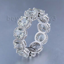 Solid 14k White Gold Natural Diamond Round 5mm Amethyst Engagement Gemstone Ring