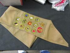 Boy Scout Merit Badge Sash - Star & Life Rank, & 11 Square Merit Badges     eb15