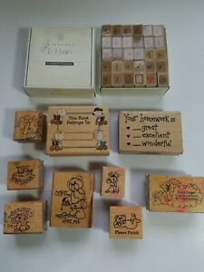 Lot of 10 Rubber Stamps for Teacher: Lower Case Alphabet, PEANUTS Charlie Brown