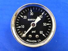 """Marshall Gauge 0-60 psi Fuel Pressure Oil Pressure Gauge Black 1.5"""" Diameter"""