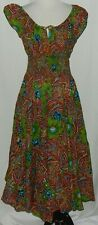 Chelsea & Theodore Women's Dress Sz L Paisley Floral Maxi Cap Sleeves Smocking #