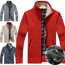 Mens Fleece Knitted Cardigan Winter Sweater Zip Up Thick Jumper Jacket Coat