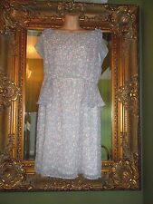 New Doll & frog @ dorothy perkins grey white pink summer 40's tea dress size 16