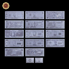 WR 14pcs US $1-$1 Billion Dollar Silver Foil Banknote Set American Bill Dad Gift