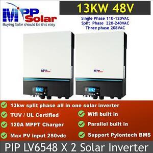 13Kw 120v 240v split phase 48v Solar MPPT Inverter UL1741 2*LV6548 in parallel