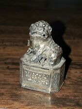 Antique Chinese Silver Gold Wash Foo Dog Snuff Box Marked Estate sale find