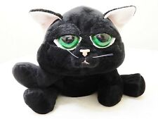 RUSS BERRIE LARGE PLUSH SOFT TOY BLACK CAT-GREEN PEEPER EYES 30CM L/35CM W BNWT
