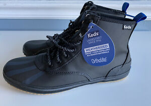 Keds Scout Splash Womens Ortholite Water Resistant Weatherized Boots Black 6.5