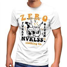 Herren T-Shirt Zero Fucks Given Skull Pin Up Girl mir egal Fashion Streetstyle