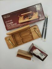 Oakline solid oak double pen stand and business card holder