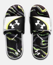 New Under Armour UA Ignite VI Morph Slides Black Green Flip Flop Sandals
