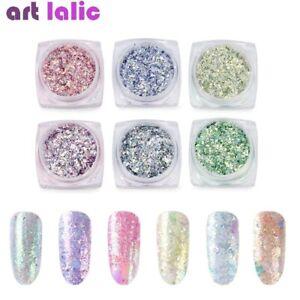 6Pcs Holographic Glitter Nail Art Flake Sequin Mirror Powder Magic Paillette Tip