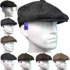 Flat Cap Mens Tweed Herringbone 8 Panel Wool Blend Blinders Gatsby Country