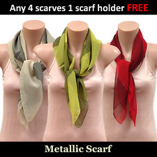 Metallic Chiffon Square Scarf (two tone colours) 4 scarves 1 scarf holder FREE