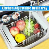 Telescopic Sink Drain Basket Dish Drying Rack Kitchen Organizer Stainless U1W3