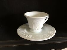 Indiana Glass Colony Harvest  Grape Milk Glass Tea Cup & Saucer