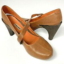 Tsubo Brown Leather Slingback Heels Pumps Acrea Rubber Sole Mary Jane US 8.5M
