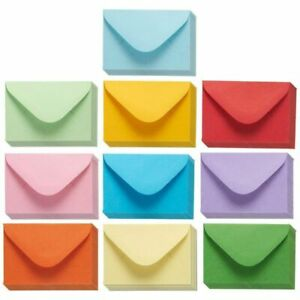 100pcs 10 Colors Gift Card Mini Envelopes Pockets for Small Note Cards Parties