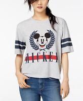 Mighty Fine Juniors TShirt Mickey Mouse Varsity Heather Gray Womens Sz XS S XL